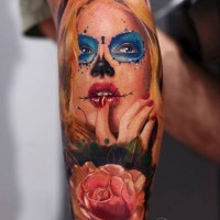 Amasing beautiful blonde santa muerte girl with pink rose tattoo