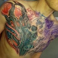 Amasing biomechanical chest tattoo for men