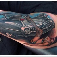 Amasing black cadillac hot rod car with pin up girl forearm tatoo