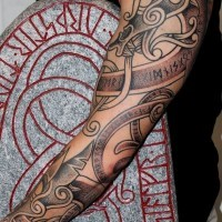 Amazing scandinavian runes and patterns tattoo on full sleeve