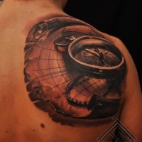 Amazing 3D black and white nautical compass and map tattoo on shoulder