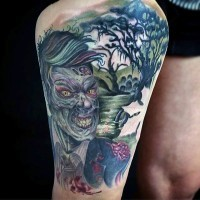 Amazing and accurate colored thigh tattoo of bloody zombie in swamp