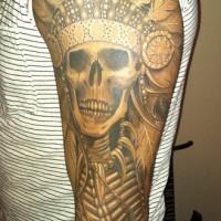 eccezionale nero e bianco molto dettagliato indiano  tatuaggio avambraccio