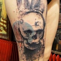 Amazing colored thigh tattoo of human skull with bunny ears