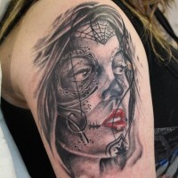 Amazing dark day of the dead girl tattoo
