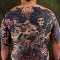 eccezionale disegno colorato massiccio scheletri misicisti Messicani tatuaggio pieno di schiena