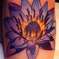 Amazing detailed realistic lotus tattoo
