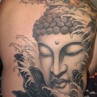 meraviglioso faccia buddista tatuaggio pieno di schiena