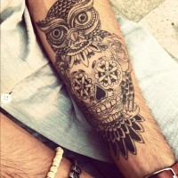 Amazing gray-ink owl with skull tattoo for guys on forearm