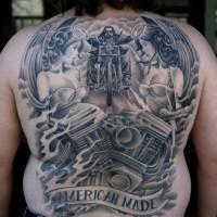 Amazing idea of biker tattoo on whole back