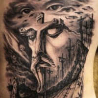 Amazing idea of jesus tattoo on ribs