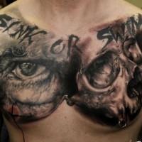 incredibile idea di teschio tatuaggio sul petto per uomo
