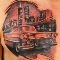 Amazing looking black ink classic car tattoo on chest with night city sights