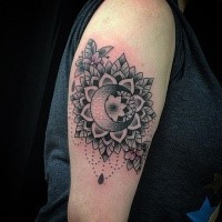 Amazing looking dot style black ink tattoo of flowers with moon