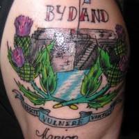 eccezionale dipinto di Scozia colorato tatuaggio su spalla