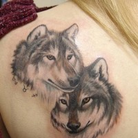 Amazing painted and colored back tattoo of wolves with tiny zodiac symbols