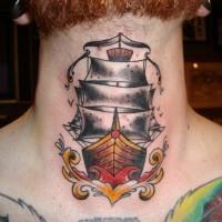 eccezionale dipinto barca bel idea  tatuaggio su collo