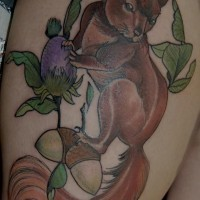 Amazing squirrel tattoo on nuts tree