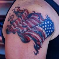 American flag tattoo on shoulder
