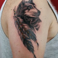 American Indian native wolf and bunch of feather slightly colored shoulder tattoo