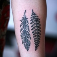American native black ink feather and leaf tattoo on arm