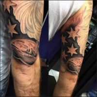 American native black ink flag part with city sights tattoo on shoulder