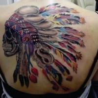 nativo americano colorato capo indiano cranio tatuaggio pieno di schiena