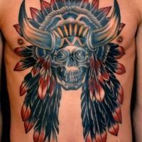 nativo americano multicolore teschio capo indiano tatuaggio su petto