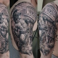 Ancient Rome themed black ink gladiator statue tattoo on shoulder with big fight arena