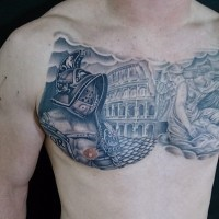 Ancient Rome themed black ink gladiator with arena tattoo on chest combined with angel statue