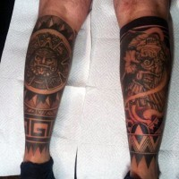 Ancient tribal  detailed paintings tattoo on legs