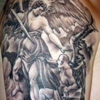 Angel with a sword and demon tattoo
