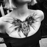 Anime cartoon themed painted by Inez Janiak tattoo of transformed Naruto fox