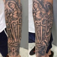 Antic like black and white forearm tattoo of angel warrior and haven gates