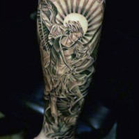 Antic painting like multicolored forearm tattoo of angel fighting demons with sun