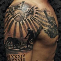 Antic Roman gladiator fights themed tattoo on shoulder with date