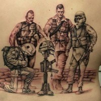 Army memorial mourners soldiers tattoo on back