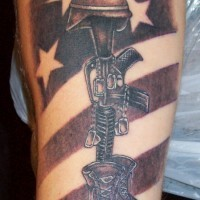 Army memorial tattoo on leg