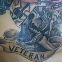 Army memorial veteran tattoo on chest