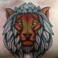 Art style colored chest tattoo of lion head