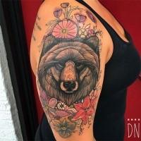 Kunststil gemalt von Dino Nemec Tattoo Bärenkopf mit Blumen