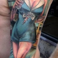 Asian cartoons style colored seductive sexy pin up girl tattoo on shoulder