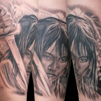 Asian movie scene like black and white angry woman with sword tattoo