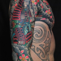 Asian native multicolored sleeve and chest tattoo of samurai warrior with flowers