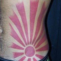 Asian oriental style red sun with long rays red ink tattoo on belly and side