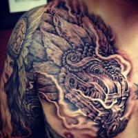 Asian style 3D like detailed colored chest tattoo on dragon statue
