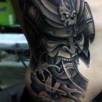 Asian style big colored detailed samurai warrior helmet tattoo on side with dragonfly