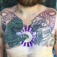 Asian style sweet colored house with waterfall tattoo on for Sweet chest tattoos