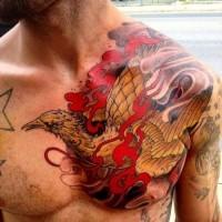 Asiatischer Stil bunter detaillierter Phönix Tattoo an der Brust