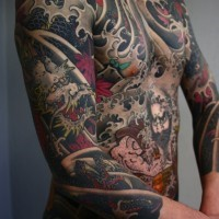 Asian style massive multicolored dragon fighting the warrior tattoo on whole body